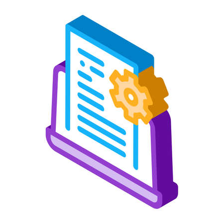 front end technical tasks icon vector. isometric front end technical tasks sign. color isolated symbol illustration 矢量图像