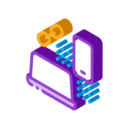 computer and phone connection icon vector. isometric computer and phone connection sign. color isolated symbol illustration