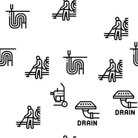 Drain Cleaning Service Seamless Pattern Vector Thin Line. Illustrations