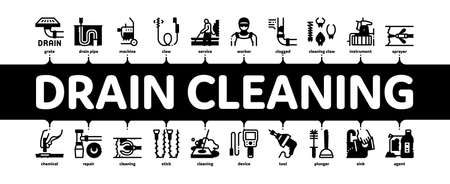 Drain Cleaning Service Minimal Infographic Web Banner Vector. Drain System Clean Equipment And Agent Cleanser, Worker Cleaner Plumber Illustration Vektorgrafik