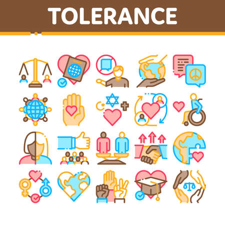 Tolerance And Equality Collection Icons Set Vector. Tolerance For Different Religion And Race, People With Disabilities And Gender Concept Linear Pictograms. Color Contour Illustrations