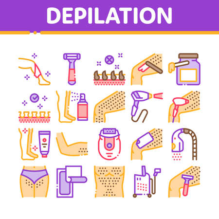 Depilation Procedure Collection Icons Set Vector. Depilation Equipment Razor And Laser, Epilation Device For Cosmetology Treatment Concept Linear Pictograms. Color Contour Illustrations
