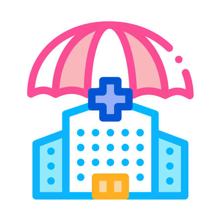 hospital clinic building icon vector. hospital clinic building sign. color symbol illustration 矢量图像