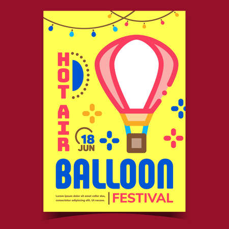 Hot Air Balloon Creative Advertising Banner Vector. Air Balloon Festival Attraction Amusement Park Promo Poster. Flight Transportation Inflate Airship Concept Template Style Color Illustration