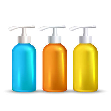 Sunblock Foamy Skincare Liquid Bottles Set Vector. Hygienic Sunblock Foam Gel Transparent Multicolored Blank Containers. Skin Protect Suntan Lotion Packages With Pump Layout Realistic 3d Illustrations