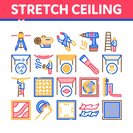 Stretch Ceiling Tile Collection Icons Set Vector. Ceiling Material And Photo Layer, Laser And Heating Equipment, Screwdriver And Ladder Concept Linear Pictograms. Color Illustrations