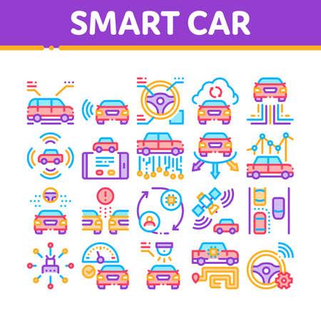 Smart Car Technology Collection Icons Set Vector. Smart Car Autopilot And Help Parking, Satellite Connection And Phone Application Concept Linear Pictograms. Color Illustrations Vecteurs