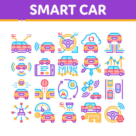 Smart Car Technology Collection Icons Set Vector. Smart Car Autopilot And Help Parking, Satellite Connection And Phone Application Concept Linear Pictograms. Color Illustrations Vetores
