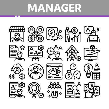 Account Manager Work Collection Icons Set Vector. Manager Businessman Idea For Sale Production And Marketing, Communication And Leadership Concept Linear Pictograms. Monochrome Contour Illustrations