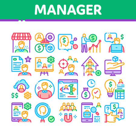 Account Manager Work Collection Icons Set Vector. Manager Businessman Idea For Sale Production And Marketing, Communication And Leadership Concept Linear Pictograms. Color Illustrations