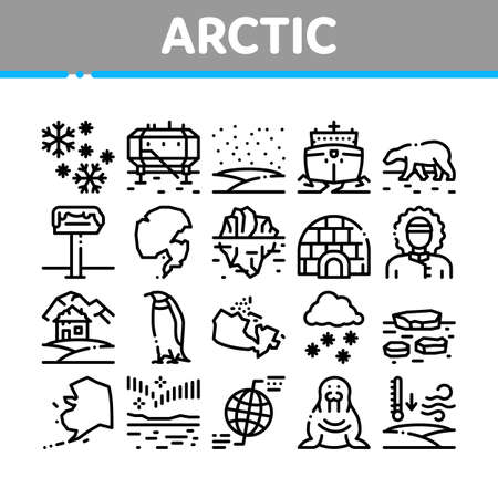 Arctic And Antarctic Collection Icons Set Vector. Arctic Snow And Ice, Iceberg And Bear, Station And Ship, Penguin And Walrus Concept Linear Pictograms. Monochrome Contour Illustrations