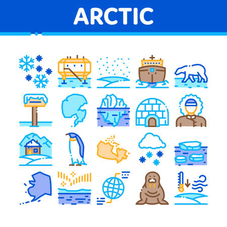 Arctic And Antarctic Collection Icons Set Vector. Arctic Snow And Ice, Iceberg And Bear, Station And Ship, Penguin And Walrus Concept Linear Pictograms. Color Illustrations
