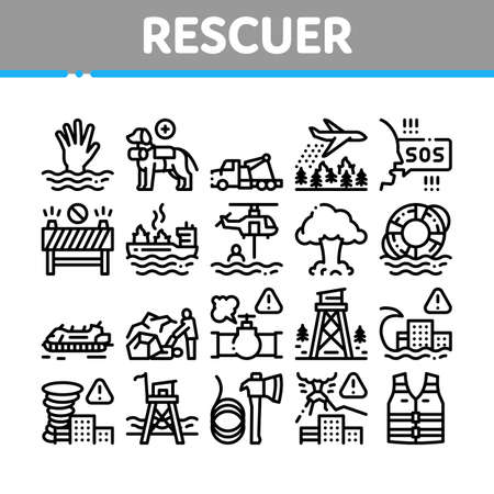 Rescuer Equipment Collection Icons Set Vector. Rescue Dog And Truck, Helicopter And Lifebuoy, Tornado And Tsunami, Ship Fire And Explosion Concept Linear Pictograms. Monochrome Contour Illustrations Illusztráció