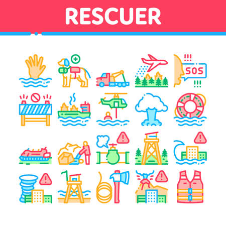 Rescuer Equipment Collection Icons Set Vector. Rescue Dog And Truck, Helicopter And Lifebuoy, Tornado And Tsunami, Ship Fire And Explosion Concept Linear Pictograms. Color Illustrations