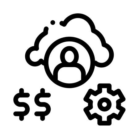 human working for money icon vector. human working for money sign. isolated contour symbol illustration