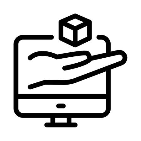 hand hold cube computer screen icon vector. hand hold cube computer screen sign. isolated contour symbol illustration