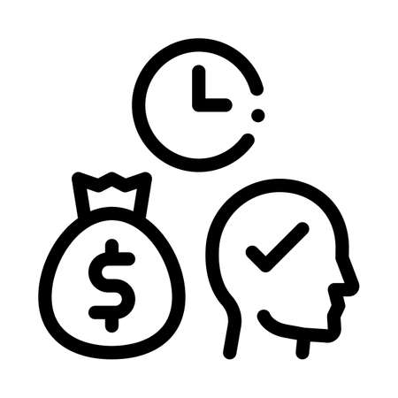time for earn money icon vector. time for earn money sign. isolated contour symbol illustration
