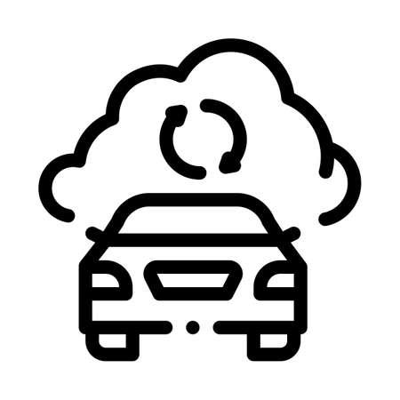 smart car connection cloud icon vector. smart car connection cloud sign. isolated contour symbol illustration