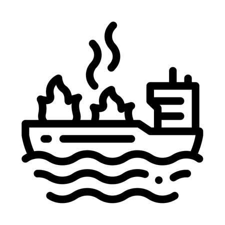 fire on ship icon vector. fire on ship sign. isolated contour symbol illustration