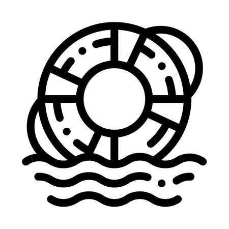 lifebuoy rescue tool icon vector. lifebuoy rescue tool sign. isolated contour symbol illustration Illusztráció