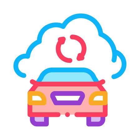 smart car connection cloud icon vector. smart car connection cloud sign. isolated contour symbol illustration