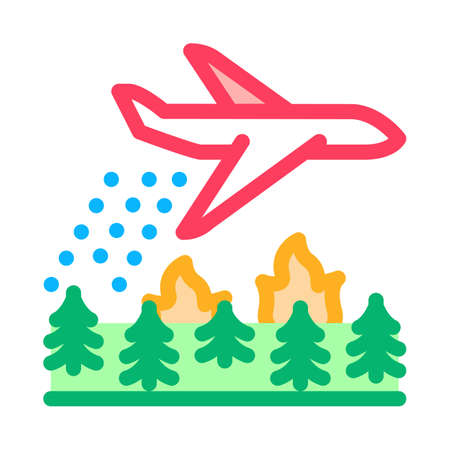 airplane forest fire extinguishing icon vector. airplane forest fire extinguishing sign. isolated contour symbol illustration Illusztráció