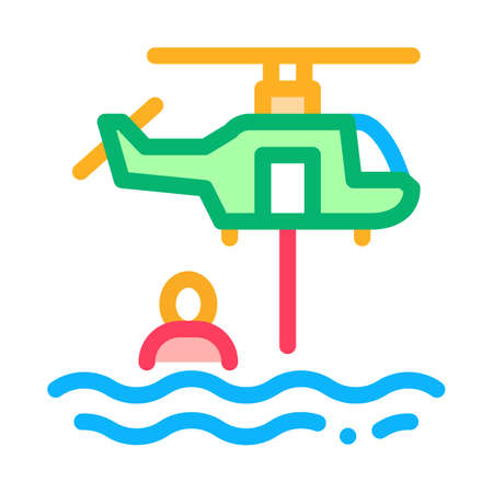 helicopter rescue on sea icon vector. helicopter rescue on sea sign. isolated contour symbol illustration
