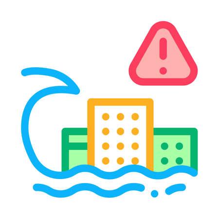 tsunami flood city icon vector. tsunami flood city sign. isolated contour symbol illustration Illusztráció