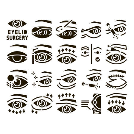 Eyelid Surgery Healthy Glyph Set Vector. Eyelid Surgery Blepharoplasty Cosmetic Correction, Injection And Smoothing Wrinkles Glyph Pictograms Black Illustrations Иллюстрация