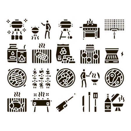 Bbq Barbecue Cooking Glyph Set Vector. Bbq Fried Meat And Shrimp, Fish And Bacon, Utensil And Gas Lighter, Grid And Wood Stick Glyph Pictograms Black Illustrations Иллюстрация