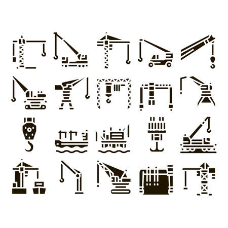 Crane Building Machine Glyph Set Vector. Crane Port Construction For Unloading Ship And Tower For Build House, Lifting Weight Glyph Pictograms Black Illustrations
