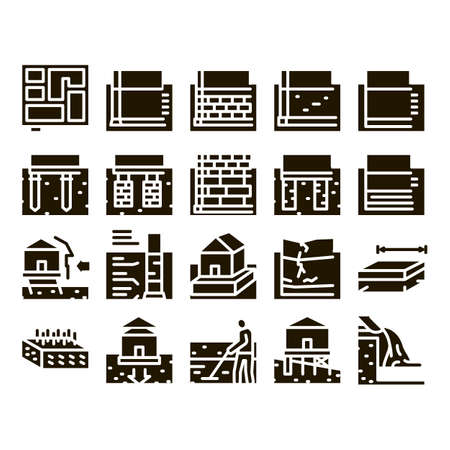 House Foundation Base Glyph Set Vector. Concrete And Brick Building Foundation, Broken And Rickety Basement, Plan And Size Glyph Pictograms Black Illustrations