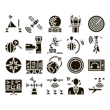 Air Navigation Tool Glyph Set Vector. Air Navigation Dispatcher And Traffic Control Building, Satellite And Radar Glyph Pictograms Black Illustrations