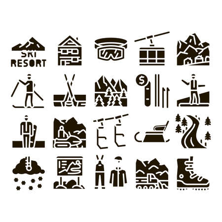 Ski Resort Vacation Glyph Set Vector. Ski Snow Track And Shoe, Protective Glasses And Sled, Chairlift Cableway And Cabin Glyph Pictograms Black Illustrations