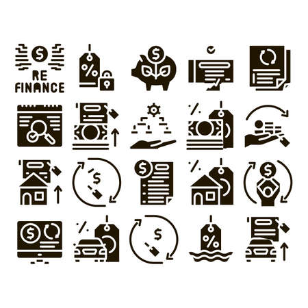 Refinance Financial Glyph Set Vector. Mortgage And Credit Car, Debt Obligation And Property, Money Cash And Percent Refinance Glyph Pictograms Black Illustrations Vetores