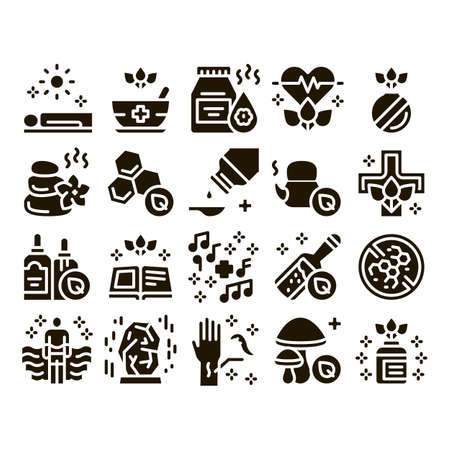 Traditional Naturopathy Medicine Icons Set Vector. Naturopathy Alternative Therapy With Honey And Herb, Music And Mushrooms Glyph Pictograms Black Illustrations