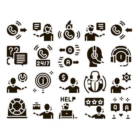 Telemarketing Sale Glyph Set Vector. Telemarketing Help And Information Research, Calling Operator And Customer Glyph Pictograms Black Illustrations Vetores