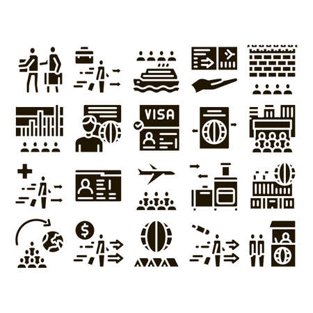 Immigration Refugee Glyph Set Vector. Immigration Person With Baggage, Passport And Visa, Cruise Liner Voyage And Airplane Glyph Pictograms Black Illustrations