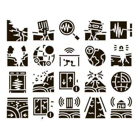 Earthquake Disaster Glyph Set Vector. Building And Road Destruction, Stone Collapse And Earthquake Catastrophe Glyph Pictograms Black Illustrations  イラスト・ベクター素材