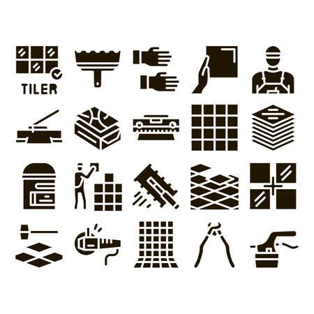 Tiler Work Equipment Glyph Set Vector. Tiler Rectangular Notched Trowel And Electrical Tile Cutter, Level Tool And Grinder Glyph Pictograms Black Illustrations Vektorové ilustrace