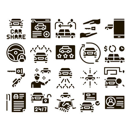 Car Sharing Business Glyph Set Vector. Car Share Deal And Agreement, Web Site And Phone Application, Key And Driver License Glyph Pictograms Black Illustrations