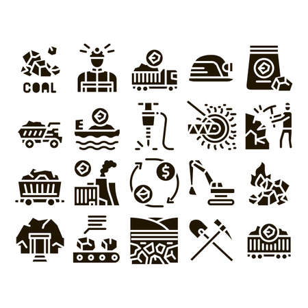 Coal Mining Equipment Glyph Set Vector. Coal Truck Delivery And Conveyer, Helmet And Jackhammer, Excavator And Factory Glyph Pictograms Black Illustrations