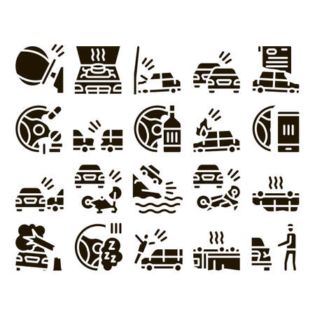 Car Crash Accident Glyph Set Vector. Car Crash And Burning, Airbag Deployed And Broken Engine, Drunk And Fell Asleep At Wheel Glyph Pictograms Black Illustrations