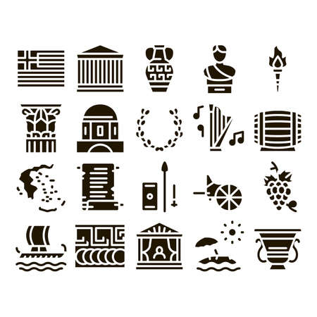Greece Country History Glyph Set Vector. Greece Flag And Antique Amphora, Building And Boat, Wine Barrel And Grape Glyph Pictograms Black Illustrations