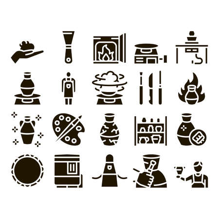 Pottery And Ceramics Glyph Set Vector. Pottery Equipment And Kiln, Potter And Spatula, Vase And Plate, Paint And Roasting Glyph Pictograms Black Illustrations