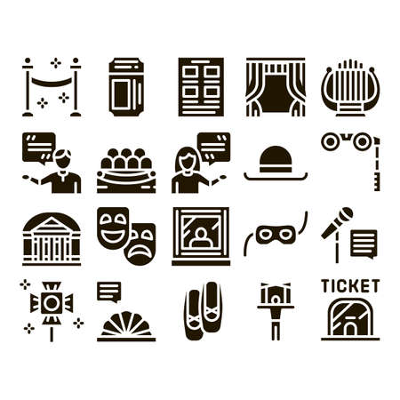 Theatre Equipment Glyph Set Vector. Theatre Ticket And Binoculars, Mask And Microphone, Curtain And Seats, Building And Hat Glyph Pictograms Black Illustrations