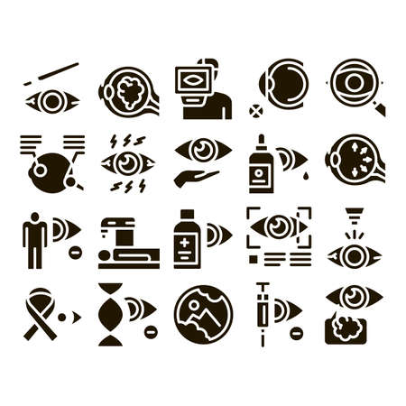 Glaucoma Ophthalmology Glyph Set Vector. Glaucoma Disease Symptoms And Treatment Eye Drop And Medical Equipment Glyph Pictograms Black Illustrations