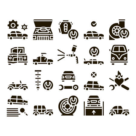 Car Restoration Repair Glyph Set Vector. Classic And Crashed Car Restoration, Painting Body And Fixing Engine, Wheel And Details Glyph Pictograms Black Illustrations