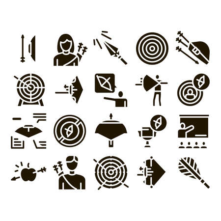 Archery Activity Sport Glyph Set Vector. Archery Target And Equipment, Crossbow And Bow, Arrow And Archer, Championship Cup Glyph Pictograms Black Illustrations