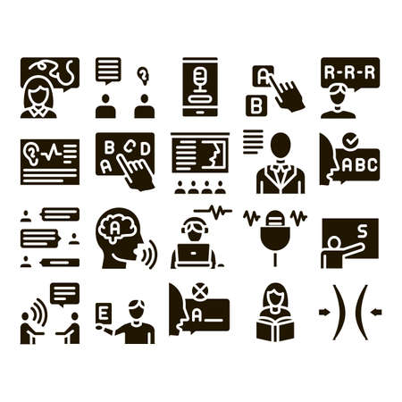 Speech Therapist Help Glyph Set Vector. Speech Therapist Therapy, Alphabet And Blackboard, Phone And Microphone Glyph Pictograms Black Illustrations Stock fotó - 155481639